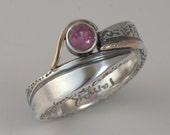 Ruby Ring Size 7 - Sterling Silver And Gold Handmade From Israel