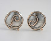 Stud Earrings - Sterling Silver And Gold Handmade From Israel