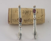 Sterling Silver and 9 Karat Gold Earrings With Ruby from Israel