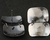 Post Earrings - Sterling Silver And Gold Handmade From Israel