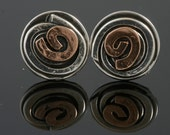 Sterling Silver and 9 Karat Gold post Earrings from Israel