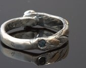Ring Size 9.5 - 10 - Sterling Silver And Gold, with 2 Sapphires, Handmade From Israel