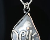OSHER - Happiness Charm - Tears Of Joy - Sterling Silver And Gold Pendant Handmade From Israel