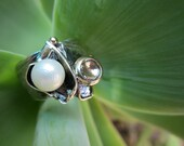 Pearl Ring Size 7.5-8 - Sterling Silver And Gold Handmade from Israel