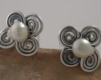 Stud Pearl Earrings - Sterling Silver Handmade From Israel