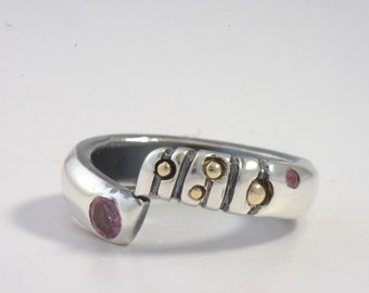 Ring Size 7-7.5 - Sterling Silver, 18k Gold, Ruby, Handmade From Israel