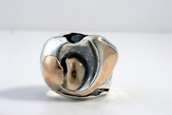 Pinky Ring Size 4.5 - Sterling Silver And Gold  Handmade From Israel