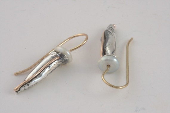 Pearl Hang Earrings - Sterling Silver and Gold Handmade From Israel