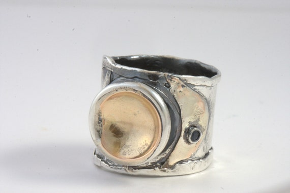 Ring Size 10.5 - Sterling Silver And Gold Set With Sapphire Handmade From Israel