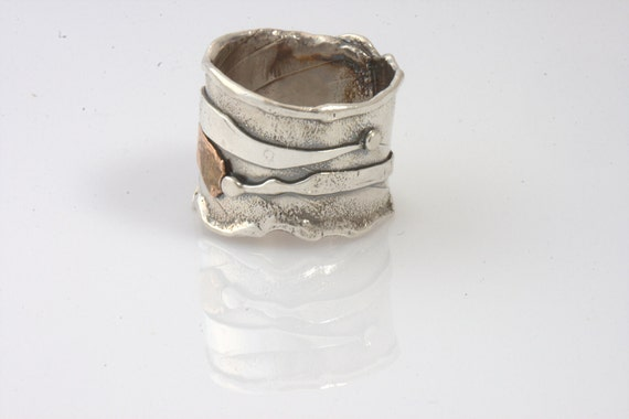 Ring Size 10.5 - Sterling Silver And Gold, Ruby, Handmade  From Israel
