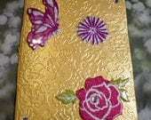 Golden and Silver Little Notebook with Flowers and Butterflies