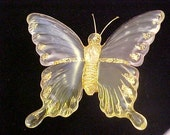 Vintage Butterfly Clip, Goldtone/Clear