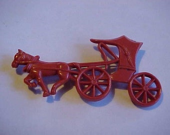 Vintage Figural Horse Drawn Buggy Pin