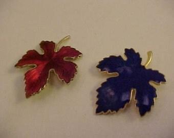 Vintage Enamel Red and Blue Leaf Pins