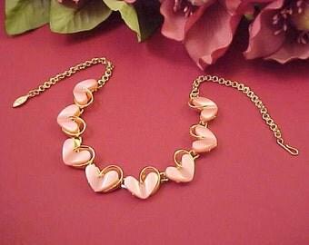 Vintage Pink Heart Lucite Link Choker Necklace