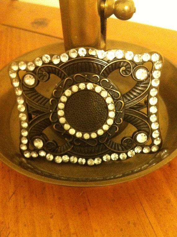 Mom's Vintage Brass/Metal Rhinestone Outlined Belt Buckle or Sash or Scarf Holder