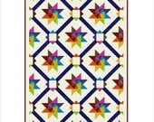 """SPINNING STARS - 86""""x 65.5"""" King Single or 65.5""""x 45"""" Single - Quilt-Addicts Pre-cut Quilt Kit or Finished Quilt"""