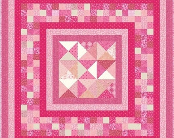 """THINK PINK - Lap 55"""" x 55"""" or Hanging 49"""" x 49"""" - Quilt-Addicts Pre-cut Quilt Kit or Finished Quilt"""