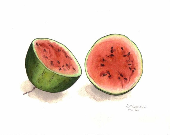 Watermelon Painting - Original Watercolor Still Life