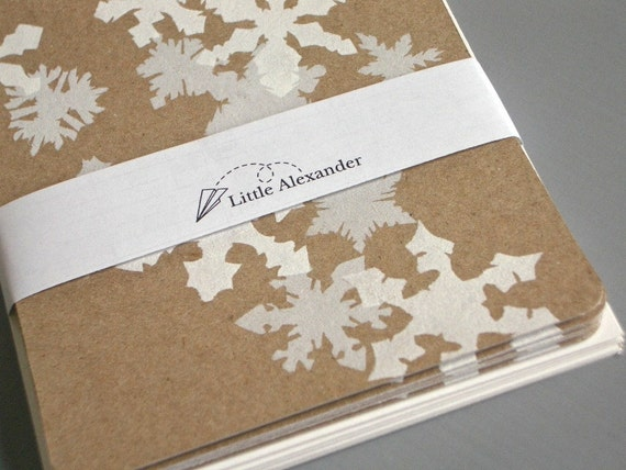 6 Winter Snowflake Cards - Eco friendly Recycled Paper