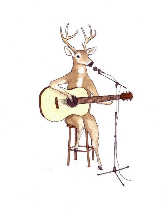 Deer at Open Mic Night - Original Art Watercolor Painting