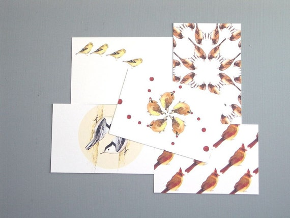 Geometric Bird Patterns - Set of 5 Postcards (Cedar Waxwings, Goldfinches, Juncos, Cardinals, Nuthatches))
