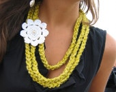 Yellow / Green Crochet Strand Necklace with White Flower
