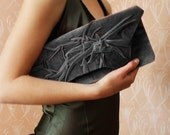 Love -  Grey Clutch  Bag in  Velvet plush