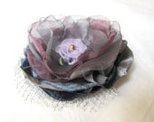 Grey and Magenta ORGANZA BROOCH - MariesCorner