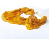Infinity Bridal Necklace Scarf of Pure French Silk in Golden Persian Orange with Lace and Rose..Circle Scarf OOAK