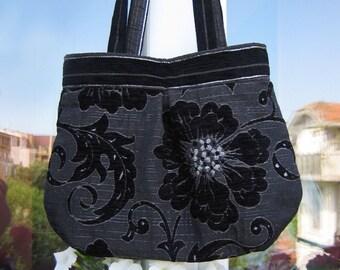 Handbag Mina, Black and Gray  beautiful, elegant and cozy handbag by MariesCorner