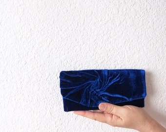 Elegant and Retro Navy Blue Clutch Bag   velvet plush vintage style, Unique, Handmade