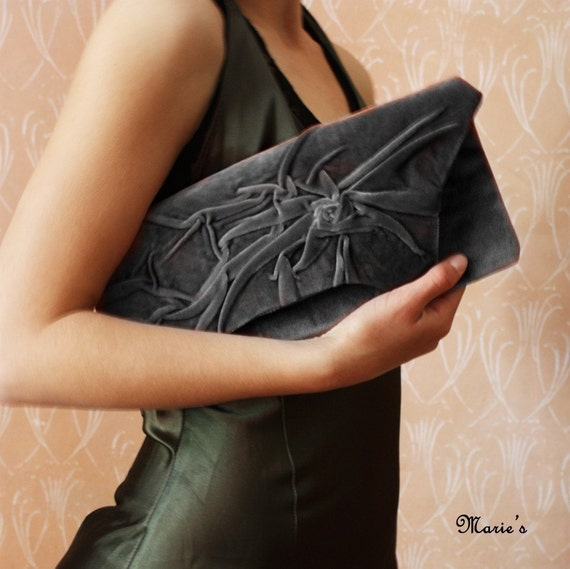 Order for lillianj - Love - French GREY Elegant and retro Clutch Bag in vintage style, Unique, Handmade