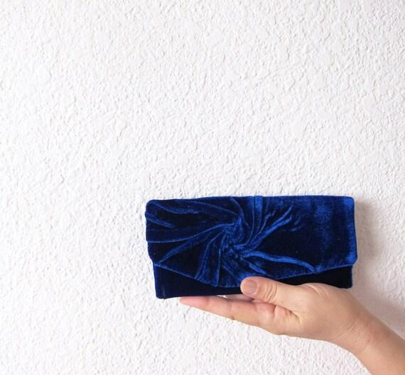 Elegant and Retro Navy Blue Clutch Bag   velvet plush vintage style, Unique, Handmade