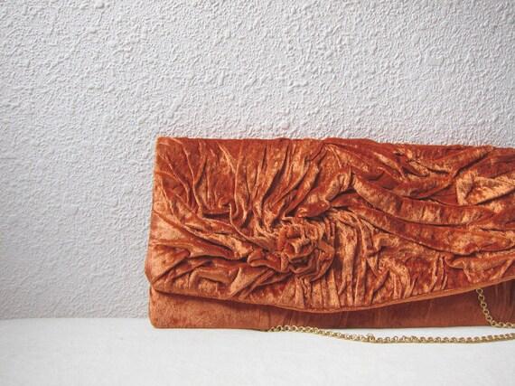 Unique artistic handmade retro Clutch bag in  plush in copper gold color