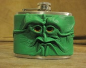 Grichels leather and stainless steel 4oz flask - kelly green with honey brown eyes