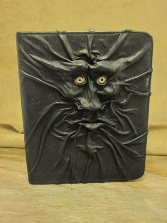 """Grichels leather large padfolio - """"Hontine"""" 14005 - black with bright green human eyes"""
