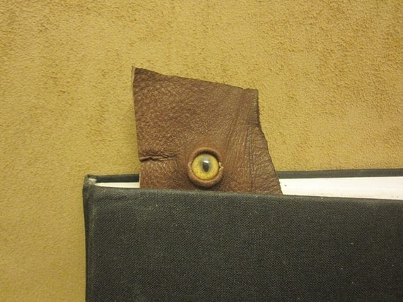 Grichels leather bookmark - chocolate brown with honey brown and green slit pupil bobcat eye