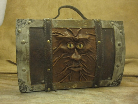 """Grichels leather and wooden small trunk - """"Kuzomon"""" 15417 - distressed brown with honey brown and green slit pupil bobcat eyes"""