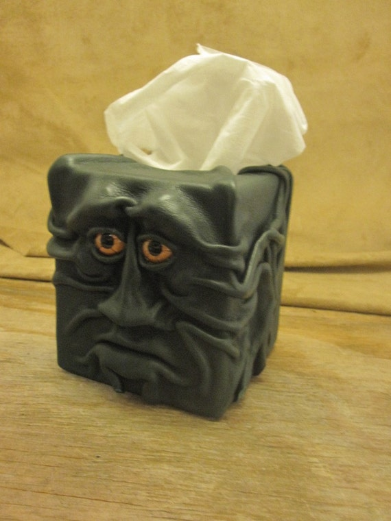 "Grichels leather tissue box cover - ""Smabelston"" 15485 - forest green with copper star eyes"