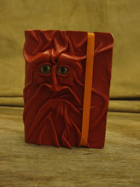 Grichels leather deluxe mini sketchbook - red with honey brown and green slit pupil bobcat eyes