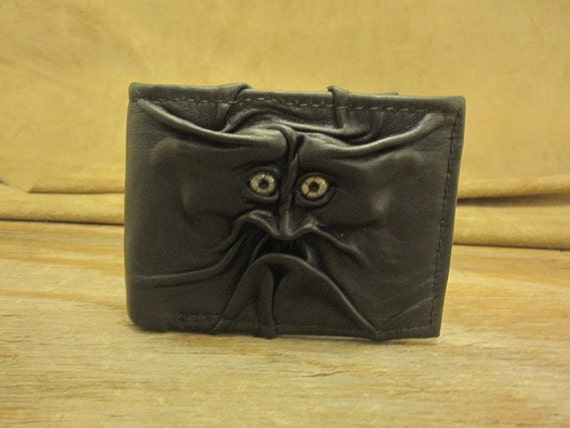Grichels leather bi-fold wallet - black with green star eyes