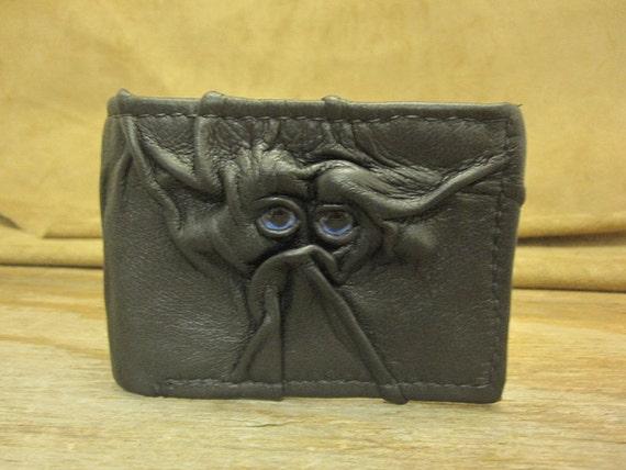 Grichels leather bi-fold wallet - black with blue fish eyes