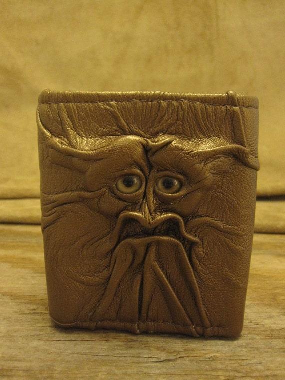 Grichels leather tri-fold wallet - metallic bronze with honey brown eyes