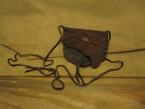 Grichels small leather shoulder bag/pouch - dark brown and chocolate brown with green star eye