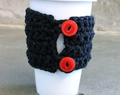 upcycled eco friendly crocheted tshirt coffee sleeve - mug warmer- cozy