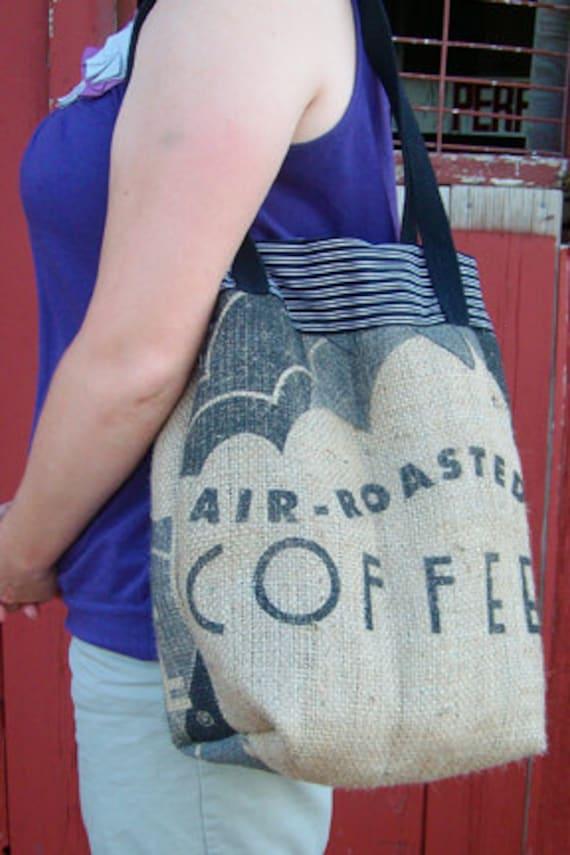 upcycled coffee bean bag tote - purse - handbag - diaper bag
