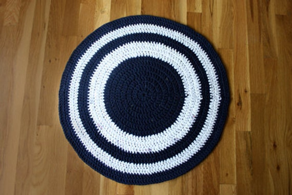 upcycled navy and white crocheted tshirt rug - area - bathroom - dorm - kitchen