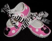 Minnie  Mouse Mary Jane Velcro Shoes w/Zebra Laces