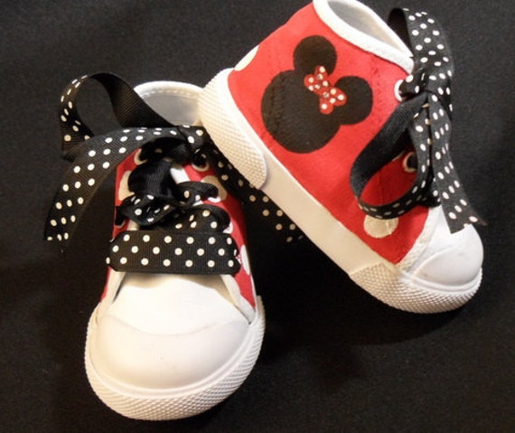 items similar to minnie mouse high top shoes w black